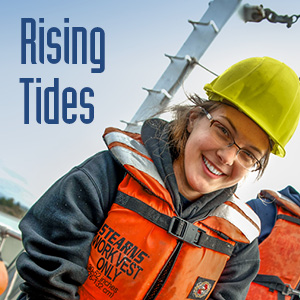 Rising Tides logo and student on the research vessel
